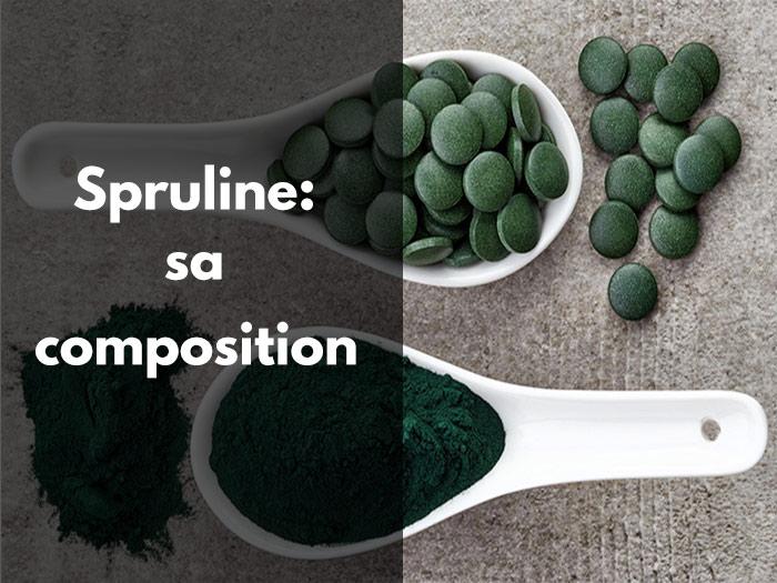 spiruline, composition, nutrition, éléments nuritionnels, protéines, fer, magnesium, acides aminés, vitamine